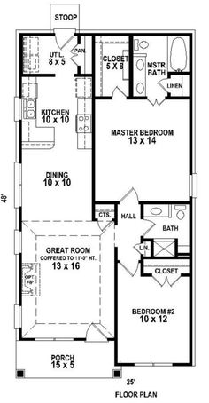 Country style home plan with Traditional influences (House Plan has 1058 sq. of living space. The 1 story floor plan includes 2 bedrooms. The Plan, How To Plan, Shotgun House Plans, 2 Bedroom House Plans, Two Bedroom Tiny House, Br House, Small House Floor Plans, Cottage Plan, Cottage Homes