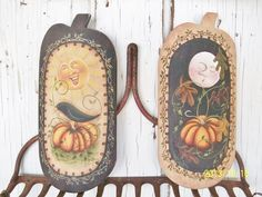 Hand Painted Fall Scenes on Pumpkin Shape by ToletallyPainted, $36.00