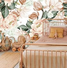 Floral Nursery Girl Wallpaper, Watercolour Peony Peel and Stick Wallpaper Vintage Flower, Removable Wallpaper Mural Bedroom Decor Boho - Today Pin Vintage Flowers Wallpaper, Vintage Floral Wallpapers, Rose Gold Wallpaper, Nursery Wallpaper, Girl Wallpaper, Wallpaper Murals, Boho Bedroom Decor, Boho Decor, Bedroom Ideas