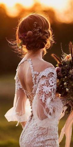 rustic wedding dresses lace backless long sleeves galia lahav