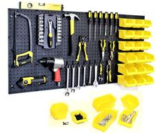 WallPeg Garage Storage System with Panels, Bins, Peg Board Hooks and Panel Set - Tool Parts and Craft Organizer (Kit with 8 Bins) Pegboard Garage, Garage Tools, Peg Board Hooks, Peg Hooks, Peg Boards, Storage Shed Organization, Garage Storage Systems, Organizing Ideas