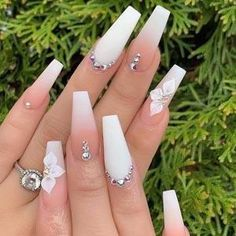 Acrylic Nails Coffin Short, White Acrylic Nails, Best Acrylic Nails, Summer Acrylic Nails, Pink Acrylics, Acrylic Art, Matte White Nails, Pink Coffin, White Coffin Nails