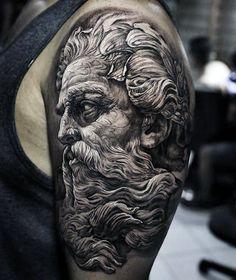 50 Fascinating Linear Sketch Tattoo Art Design:Stunning Statue Linear Sketch Tattoo Completed In Lima, Perú Zeus Tattoo, Poseidon Tattoo, Tattoo Sketches, Tattoo Drawings, Tattoo Art, Gott Tattoos, Greek Mythology Tattoos, Saved Tattoo, Upper Arm Tattoos