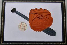 Baseball Bat And Mitten Iris Folding Templates, Iris Paper Folding, Iris Folding Pattern, Paper Cards, Folded Cards, Card Patterns, Kids Cards, Holiday Cards, Card Stock