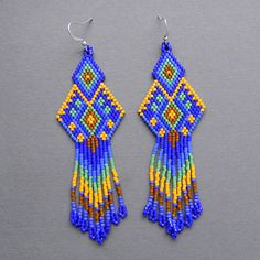 Dark blue  seed bead earrings  Peyote Earrings by Anabel27shop, #beadwork