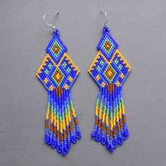 Dark blue  seed bead earrings  Peyote Earrings by Anabel27shop, #beadwork