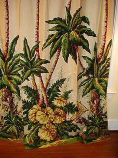 Vintage tropical Barkcloth draperies.