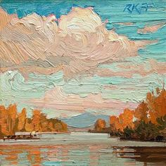 """Daily Paintworks - """"Sunny River: 6x6 oil on panel"""" by Ken Faulks"""