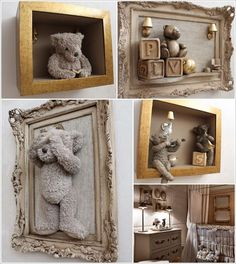This Framed Teddy Bear Idea is Just Superb for a Nursery