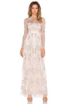 Needle & Thread Tiered Imprint Maxi Dress in Dust Rose | REVOLVE