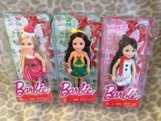 3 Barbie Chelsea Dolls Holiday Christmas 2015 set Brand New! #Mattel #DollswithClothingAccessories