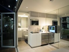 Living Area, Living Spaces, Dwell On Design, Studio Living, Modular Homes, Kitchenette, Sustainable Living, Solar Panels, Modern Architecture
