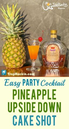 Pineapple Upside Down Cake Shot drink recipe is easy to make and perfect for parties. Serve a crowd easily at your party with this simple shot recipe. Alcoholic drink recipes and easy cocktail recipes made with vanilla whisky (crown royal). Alcohol Drink Recipes, Alcohol Shots, Party Drinks Alcohol, Fruit Drinks, Cake Shots, Easy Cocktails, Cocktail Recipes, Easy Alcoholic Drinks, Shot Recipes