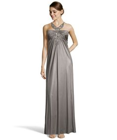 LM Collection silver jersey pleated jeweled neck gown