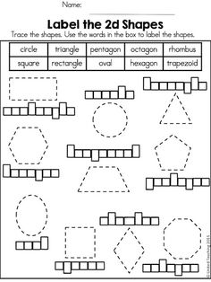 Practice identifying and drawing 2D shapes. Part of the Shapes No Prep Activities packet.