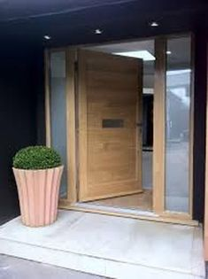contemporary oak double front doors - solid door with side panels Modern Exterior, Front Door Colors, House Front, Contemporary Front Doors, House Exterior, External Doors, Wood Doors Interior, Oak Front Door, Doors