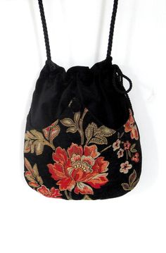 Tangerine Chenille Flower Bag Black Velvet Bag by piperscrossing