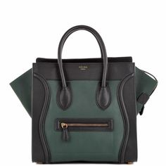 Celine Luggage Tote (30CM) in 2-tone smooth calf leather - green and black