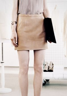 Beige Leather Mini Skirt