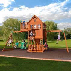 10 Best Wooden Swing Sets for Your Backyard: Backyard Discovery Skyfort II Wooden Swing Set