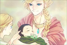 """""""Thor, this is your brother, Loki."""" """"Will he always be this...small, Mommy?"""" """"Of course not! One day he'll be just as big as you."""" """"...Promise?"""" """"Promise."""""""