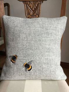 Bumble Bees Harris Tweed Cushion - Home Decoration Vêtement Harris Tweed, Bee Art, Embroidered Cushions, Save The Bees, Bee Happy, Bees Knees, Soft Furnishings, Home Accessories, Sweet Home