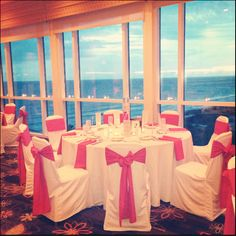 The Sunset Terrace at the Lido Beach Resort in Sarasota, Florida features floor to ceiling windows with views of The Gulf of Mexico  www.facebook.com/lidobeachresortweddings