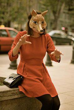 dress + tights + clutch + mask, love it all!