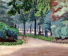 "lawrenceleemagnuson: "" John Lyman (Canada Luxembourg Garden II (c. oil on cardboard 33 x cm "" Matisse, Lawrence Lee, Stone Fountains, Luxembourg Gardens, Classic Paintings, Garden Borders, Landscape Paintings, Landscapes, Modern Art"