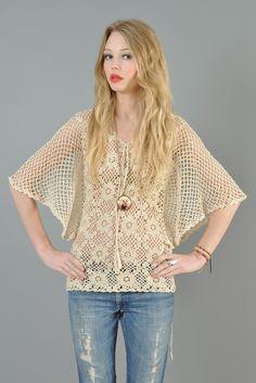Vtg 70s Crochet Sheer Cutout Knit Plunge Angel Slv Hippy Boho Dress Shirt Top | eBay