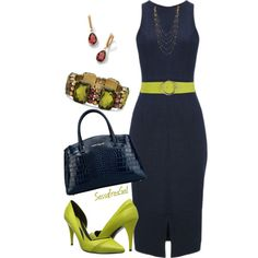"""Navy & Chartreuse"" by sassafrasgal on Polyvore"