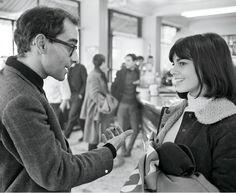 "Jean-Luc Godard and Chantal Goya on the set of ""Masculin, Féminin""."