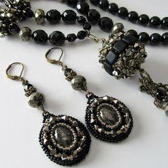 Beaded bead Necklace and Earrings, Pyrite Gemstones, Black, Gold, Antique Brass, Swarovski Crystals, Beaded Jewelry, Artisan Handmade