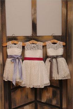 Ivory Lace Flower girl Dress Baby Girl Dress with Sash in Orange/Brown/Blue/Lavender/Red/Gray