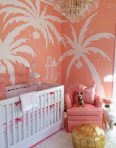 The Glam Pad: A Nursery for a Palm Beach Princess--The crib is from WALMART!!!! Nice!! The murals were painted by West Palm Beach artist EEK. The coral paint is Jovial Coral by Sherwin WIlliams