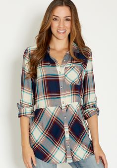 button down plaid tunic with one pocket - #maurices