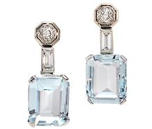 Late Art Deco Aquamarine Diamond Earrings