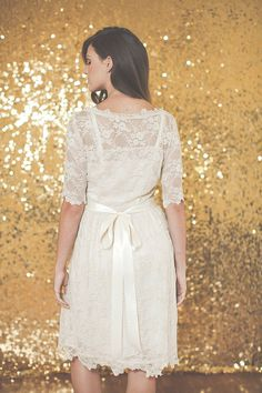 Half Sleeved Lace Wedding Dress Ami Dress  Made to Order by ktjean, $500.00. Breath-taking.