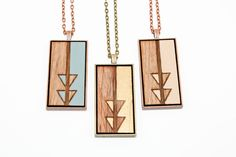 Geometric Divided Triangle Design Pendant - Engraved Wooden Cameo Necklace (Custom Made / Personalized)