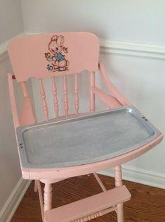 Atomic Pink Decal Wooden Jenny Lind by LoveIsStrangeVintage, Jenny Lind, Retro Baby, Vintage Love, Vintage Pink, Vintage Items, Imagenes Color Pastel, Vintage High Chairs, Vintage Nursery, Antique Nursery