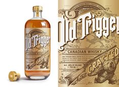Old Trigger is a whisky for the outdoors huntsman. Details graphics inspired from antique rifle ornate detailing.