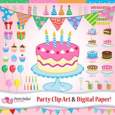 Party Clip Arts And Digital Papers Patterns Por PolpoDesign Birthday Clipart Elements Of