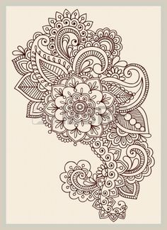 Henna Paisley Flowers Mehndi Tattoo Doodles Design- Abstract Floral - 123rf