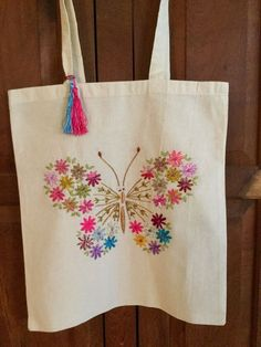 Embroidery Bags, Hand Embroidery Stitches, Hand Embroidery Designs, Crewel Embroidery, Sewing Crafts, Sewing Projects, Butterfly Bags, Tote Bags Handmade, Handmade Bracelets