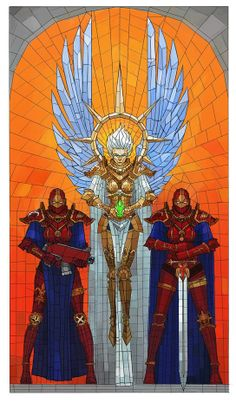 Sisters of battle mural - Would work great as a stained glass insert.