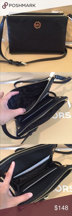 Michael Kors Fulton East West Black Crossbody 100% Authentic Michael kors Fulton east west crossbody Leather Black Michael Kors Bags Crossbody Bags