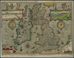 map of Great Britain and Ireland, made in 1610.