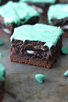 Oreo stuffed mint chocolate brownies. #food I would do this minus the food coloring