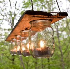 Wooden Candle Light Fixture on Etsy, $100.00