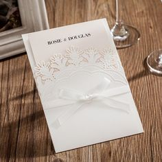 63.99$  Buy here - http://aliix7.worldwells.pw/go.php?t=32766394845 - 50pcs/pack Laser Cut Wedding Invitation Bowknot White Invitations Cards with RSVP Card for Birthday Party Supplies 63.99$
